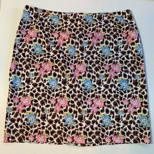 Gorgeous Nicole Miller Floral & Animal Print Skirt